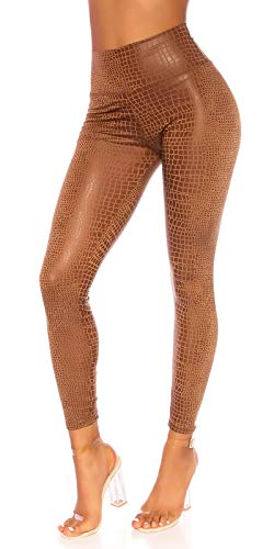 Fridays Damen Leggings | Leder-Optik Reptil WetLook | Hoher Bund Jegging | Sexy Leggins Stretsch NEU (Braun, S/M)