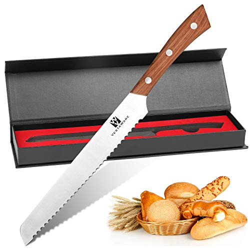 Bread Knife, Vestaware 8 Inch Ultra Sharp Serrated Bread Knife Cake Cutting Knife, German High Carbon Stainless Steel Knife, Durable Kitchen Knife Bread Cutter for All Types of Bread, Ergonomic Handle