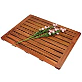 "Utoplike Teak Wood Bath Mat, Shower Mat Non Slip for Bathroom, Wooden Floor Mat Square Large for Spa Home or Outdoor (24""x18"")"