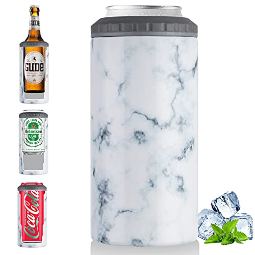 Can Cooler 4 in 1 Skinny Can Cooler for Slim Beer Hard Seltzer Drink Holder for Soda Beverage Energy Drinks Double Wall Vacuum Insulated As Drink Cup 12oz