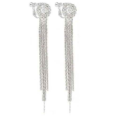 Latigerf Fashion Jewellery Women's Silver tone Long Tassels Screw Back Non-Pierced Clip on Earring Clips for non pierced ears for Girl Rhinestone