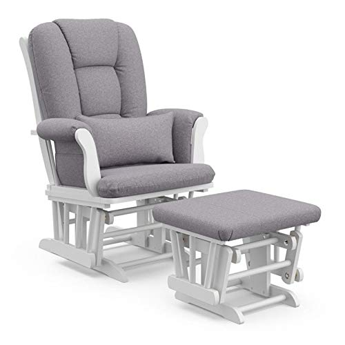 Pemberly Row Custom Glider and Ottoman with Lumbar Pillow in White and Slate Gray - Smooth Rocking Chair for Nursery, Padded Arm Cushions with Storage Pocket