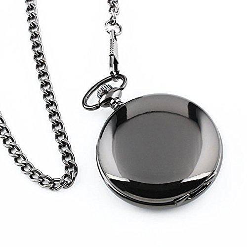 UEETEK Reloj de bolsillo moderno de caso arábigos blancos de los hombres negro liso de acero inoxidable con caja de regalo