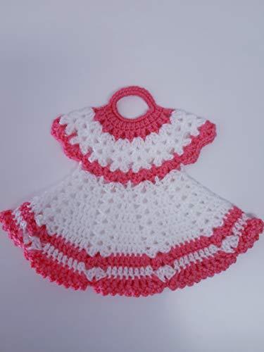 Agarradera de olla o Adorno de Cocina Vestido Blanco/Rosa