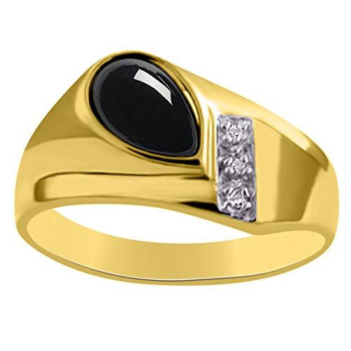Diamond & Onyx anello oro giallo 14K o oro bianco 14K