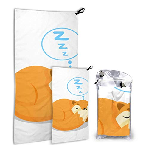 N\A Sleepy Fox Cute Cartoon Animal 2 Pack Microfiber Lady Beach Towel Big Drying Towel Set Fast Drying Best for Gym Travel Backpacking Yoga Fitnes