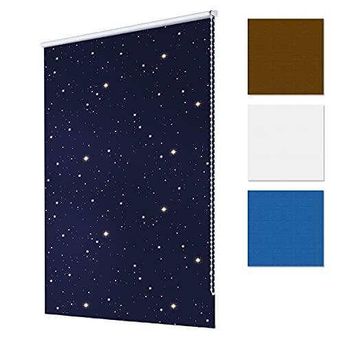 ECD Germany Persiana de oscurecimiento 100 x 150 cm - Color Azul Estrellas - Klemmfix - sin Necesidad de taladrar - Estor Opaco Persiana Enrollable