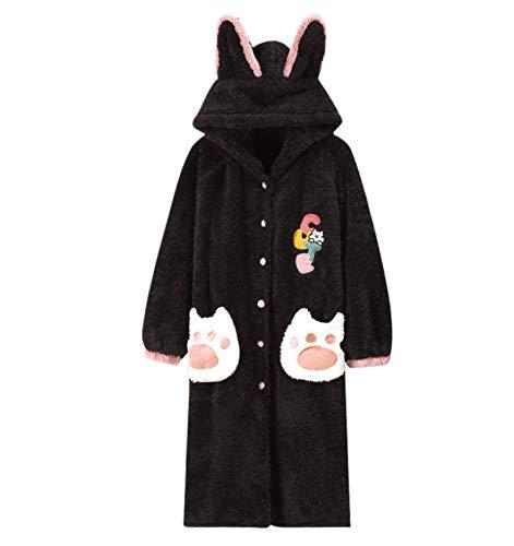 LEYUANA Camisones de Franela Gruesos de Invierno para Mujer, Vestido de Noche cálido de Manga Larga para niñas, Ropa de Dormir Bonita Coral Sleep Lounge XL A