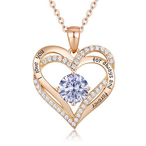 CDE 925 Sterling Silber Roségold Herz Halskette, 5A Zirkonia Birthstone Anhänger Kette Damen Muttertag Schmuck Geschenk mit Box(Roségold Juni)