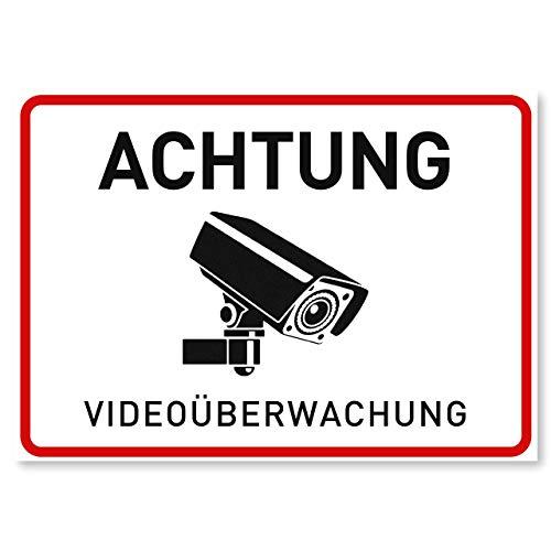 11 x Aufkleber Videoüberwachung - A6 (14,8 x 10,5 cm) - Rückseite Geschlitzt - Der Sticker für mehr Sicherheit - Achtung Videoüberwachung für Fenster und Türen - Warnhinweis für außen