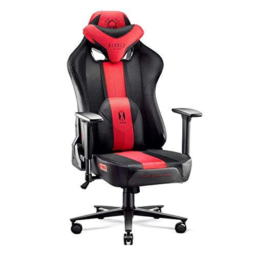 Diablo X-Player Gaming Stuhl Bürostuhl Schreibtischstuhl Stoff 3D Armlehnen Ergonomisches Design Nacken/- Lendenkissen (Anthrazit-Rot, XL)