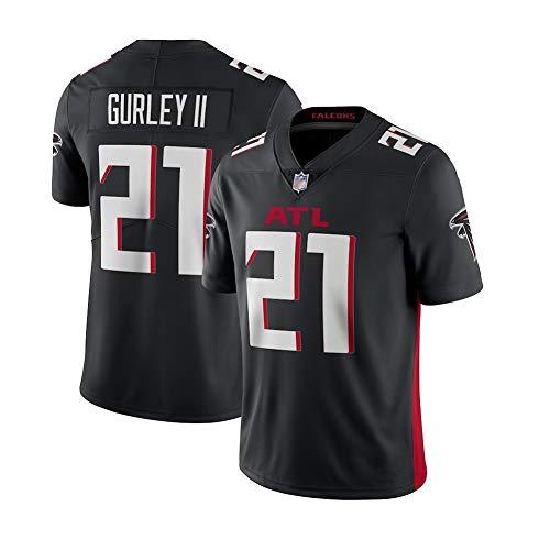 Gurley II # 21 Atlanta Falcons Herren Rugby Jersey Fußballtrikot, Stickerei Kurzarm Sport Unisex Fans Trikots Atmungsaktives T-Shirt Wiederholbare Reinigung-black-2XL(190cm~19
