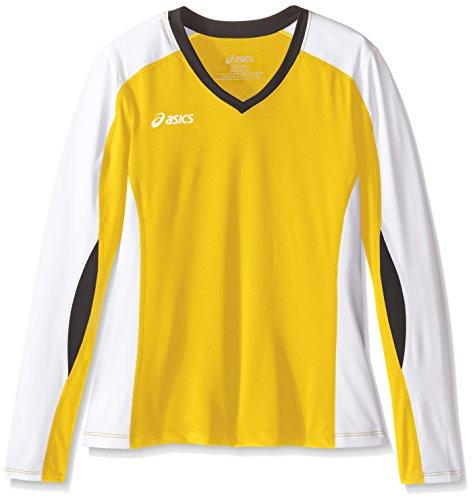 ASICS Junior Rolle Shot Jersey Übung & Fitness Top, Mädchen, Jr. Roll Shot™ Jersey, Gold/Weiß, Large