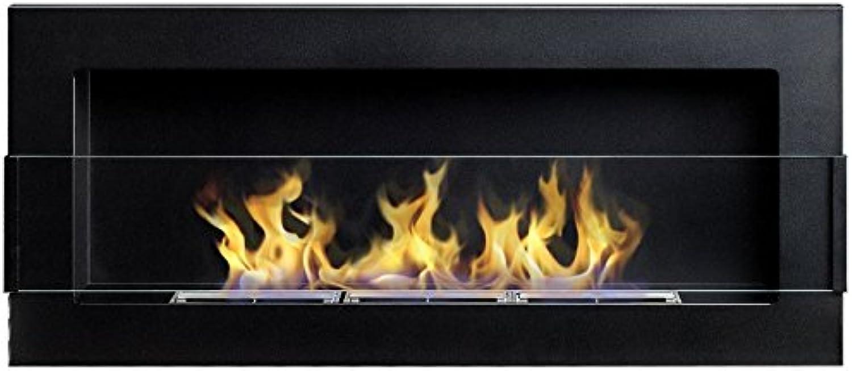 Flame – Wandkamin   Ethanolkamin in Schwarz Matt mit feiner Oberflchenstruktur (90 x 40 cm)