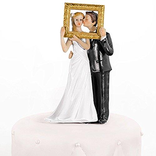 Hochzeitstortenfiguren goldener Bilderrahmen 14,5 cm - Tortenfiguren Hochzeit Tortendeko Hochzeit Figuren Hochzeitstorte Tortenfigur Hochzeitspaar Tortenaufsatz Brautpaar Aufsatz Hochzeitstorte Nr.44