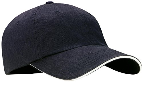 Port Authority® Sandwich Bill Cap with Striped Closure. C830 Classic Navy/