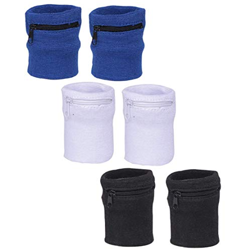 Chris.W 3Pairs Sports Wristband Zipper Sweatband Wrist Wallet Key Pocket for Women Men Running Cycling Jogging and Other Sports(Black/Blue/White)