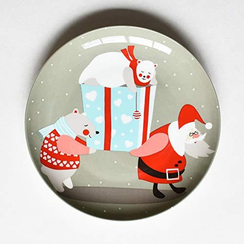 HUANGDANSEN Plato de Cena de cerámica de 8 Pulgadas, Plato de Cena de Porcelana de Hueso de Navidad Creativo, Plato de Desayuno, Platos de Cocina, Plato de Pastel, Aperitivos