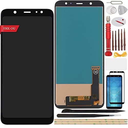 YHX-OU 6.00 pulgadas para Samsung Galaxy A6 Plus 2018 Galaxy A6+ 2018 Pantalla LCD Juego de digitalizador táctil de repuesto con herramienta de instalación + 1 pieza de cristal templado (negro)
