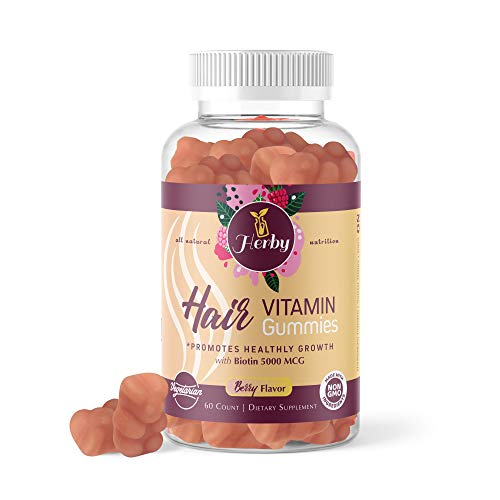 Herby Hair Vitamins Gummy, Vegetarian Gummy with Biotin, Vitamin D, Vitamin B-12, Folic Acid, Vitamin A. Supports Healthy Hair, Skin & Nails (1 MONTTH Supply)