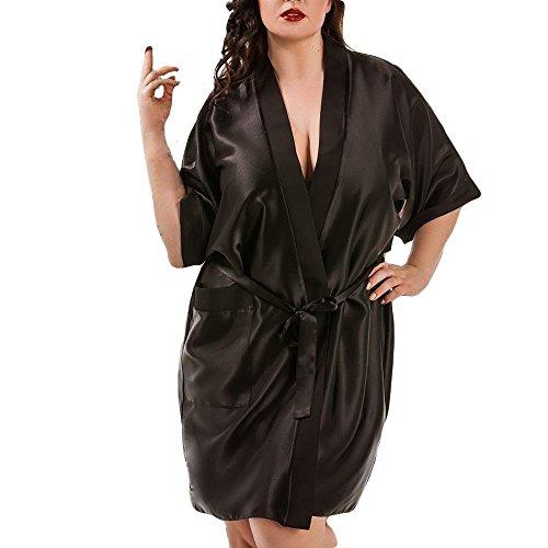 MORCHAN Femmes Sexy en Soie Kimono s'habiller Babydoll Dentelle Lingerie Ceinture Bain Robe de Nuit Soutien-Gorge sous-vêtements Costume du Corps vêtements de Nuit(M,X-Noir)