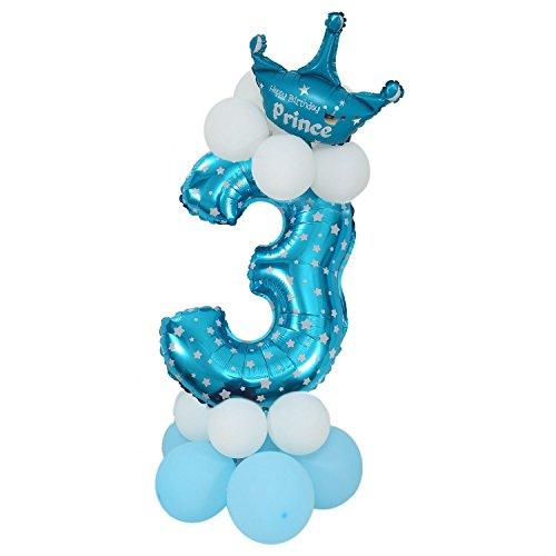 Ctzrzyt Figuras de Globo Latex Azul Gigante Numero Papel Globo Globo Ducha Partido ninos Cumpleanos Decoracion con Globos - Numero 3