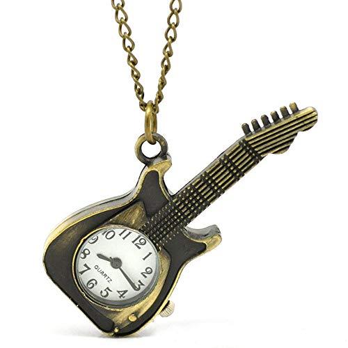 YHWW Montre de Poche Forme de Guitare Poche Quartz Porte-clés Montre Pendentif Cadeaux