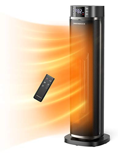 TaoTronics Space Heater, Ceramic Tower Heater with Eco Mode, Remote Control, 65° Oscillation, 12H Timer, Overheating & Tip-Over Protection, PTC Electric Heater for Bedroom/Living Room/Office