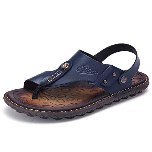 OHCHSH Herren-Sandalen zum Reinschlüpfen, Flip-Flops für Herren, Leder, Zehenring-Stil, Strand, Blau (blau), 38.5 EU