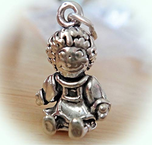 Sterling Silver 3D 20x13mm 5 Gram Detailed Raggedy Ann Rag Doll Charm! Vintage Crafting Pendant Jewelry Making Supplies - DIY for Necklace Bracelet Accessories by CharmingSS