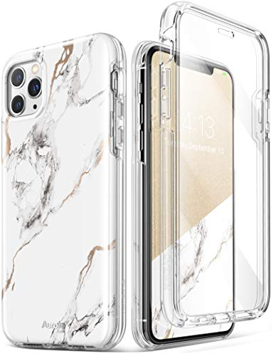 GVIEWIN Aurora Series iPhone 11 Pro Max Case 6.5 Inch, [Built-in Tempered Glass Screen Protector] Dual Layer Stylish Marble Shockproof Flexible Bumper Phone Cover Case (White/Gold)