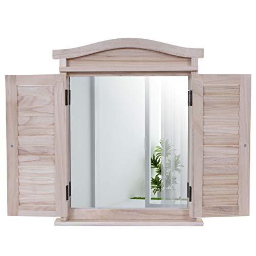Mendler Wandspiegel Spiegelfenster mit Fensterläden 53x42x5cm ~ naturbraun