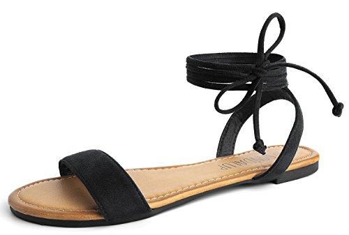 SANDALUP Flache Sandalen mit Schnürung für Damen Schwarz 08