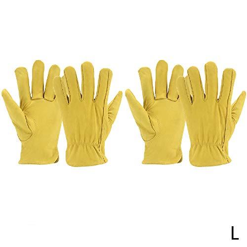 Hui Jin 2 Paar Leder-Arbeitshandschuhe, Ziegenleder, Gartenhandschuhe, ideal für Gartenarbeiten, Landwirtschaft und allgemeine Wartung, Größe L