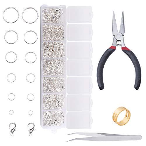 Anillo de Salto, Kit de Reparación de Collares con Anillo de salto abierto, Reparación de accesorios y proyectos de manualidades para bricolaje, Pendientes, Collar, Pulsera (Silver)