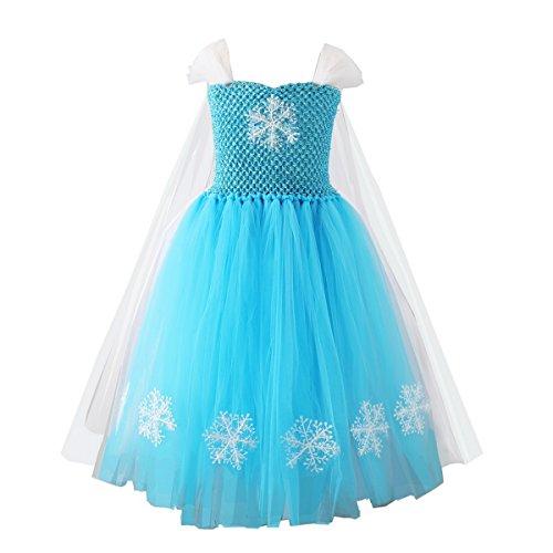 Meisjes Koningin Elsa Fancy Jurk Kostuum Prinses Sneeuw Fee Verhaal Cosplay Outfit