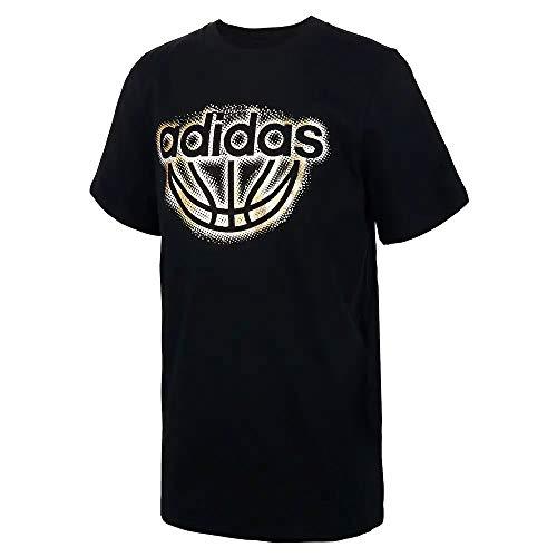 adidas Boys' Short Sleeve Logo Tee Shirt (L (14/16), Foil Linear/Black/Gold)