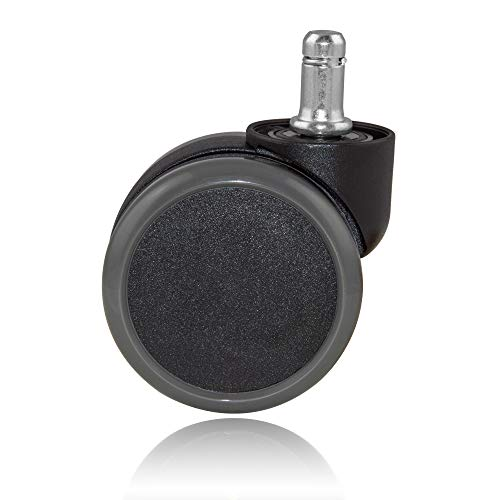 Ruedas para silla de oficina para suelos duros, 11 mm, juego de 5 unidades (65 mm de diámetro, frenado dependiendo de la carga), suelos de parqué y laminado