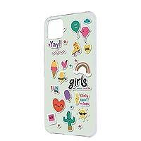 すまほケース ハードケース Google Pixel 4 G020N 用 [ガールズアイコン・グリーンミント] ハート サングラス サボテン グーグル ピクセル フォー SoftBank SIMフリー スマホカバー けいたいケース 携帯カバー [FFANY] girls_aa7_h210254