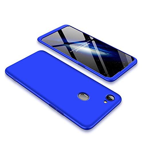 ZSCHAO Für Oppo F7 360 Grad Hülle Ultra Slim Dünn stossfest Stoßfest +Panzerglas Handyhülle Kompatibel mit Oppo F7 Hülle Full Hülle Cover Matt HardHülle 3 in 1 Schutzhülle Blau