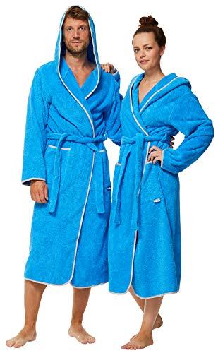 Sowel® Bademantel aus 100% Bio-Baumwolle, Extra Lang mit Kapuze, Flauschig, Frottee, Damen und Herren, M, Blau/Grau