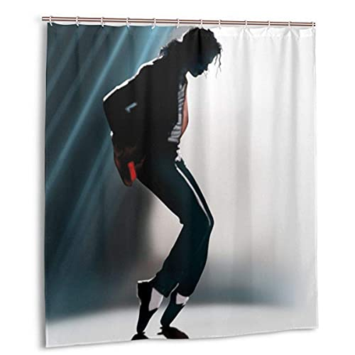 KEROTA Badezimmerdekor Duschvorhang Michael Jackson wasserdichter Polyesterstoff Badvorhang mit 12 Kunststoffhaken 168 x 183 cm