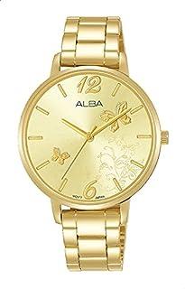 ساعة انالوج بعقارب وسوار ستانلس ستيل وميناء شكل فراشات للنساء من البا Fashion - ذهبي
