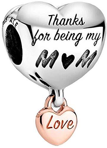"""MariaFonte Bead Charm in Herzform mit Aufschrift """"Thanks for being my Mom"""" aus 925er Sterlingsilber, geeignet für Armbänder und Halsketten."""