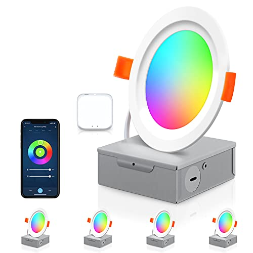 Smart Recessed Lighting, 4 inch RGB LED Recessed Lighting with Warm & Cool White, Dimmable, 10W 800LM, Color Changing Recessed Lighting Work with Alexa/Google/Siri, Sync to Music, 4 Pack