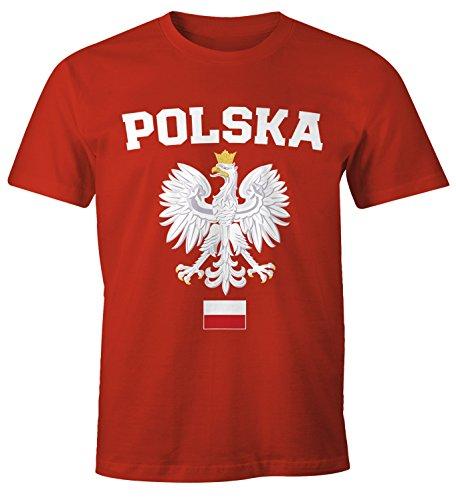 MoonWorks Herren T-Shirt Fußball WM Polska Polen Poland Flagge Weißer Adler rot-weiß-Flagge 4XL