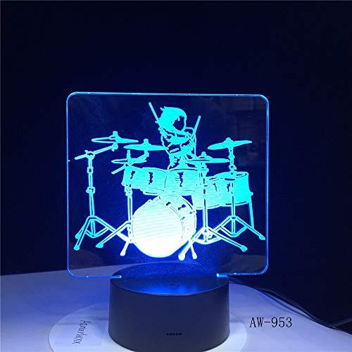 Strumento musicale Jazz Drum Set Colore Lampada da scrivania 3D LED Luce notturna Decor Lustre Regalo di festa Lava 3