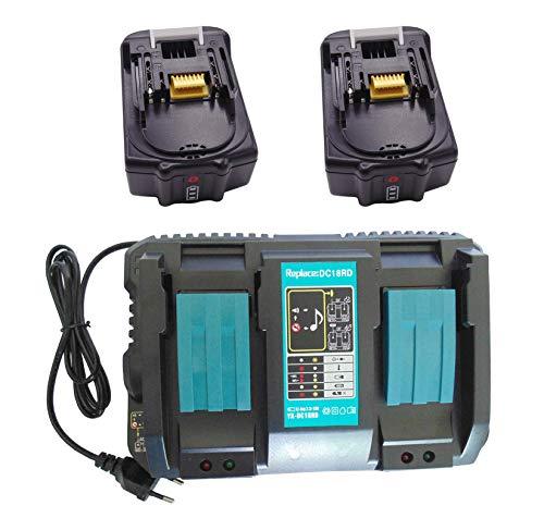 Ersetzen BL1850B BL1850 BL1840 197280-8 für makita DMR104 BMR107 LXRM02 LXRM03 BMR103 BMR102 DMR102 BMR104 2 Stück 5.0Ah 18V akku mit 4A Doppel-Schnellladegerät