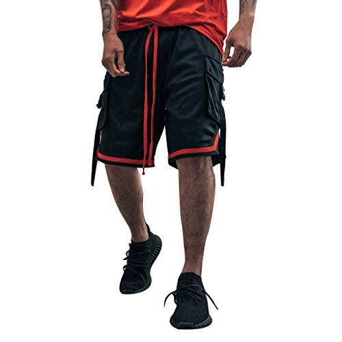 Xmiral Shorts Herren Reißverschluss Taschen Kordelzug Streifen Sports Kurze Hose (XL, T1- Schwarz)