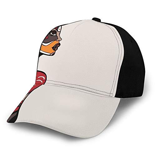 Classics Adjustable Visor Baseball Cap Sun Hat,Profile of African Beauty Totem Ethno Fashion Girl with Mask Tattoos Illustration
